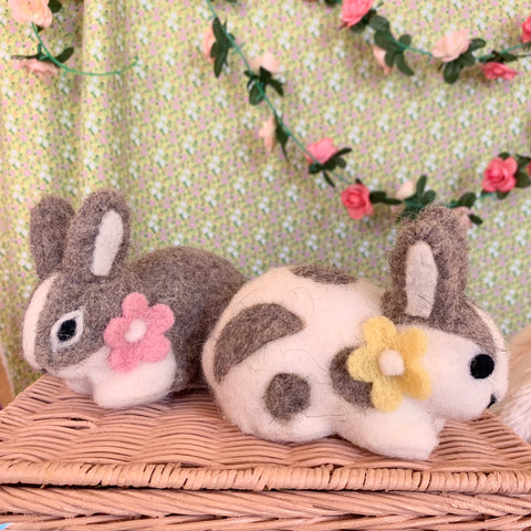 Fuzzy Felted Baby Bunny with Flower