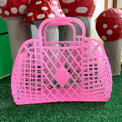 Jelly Retro Basket - Large Neon Pink Translucent