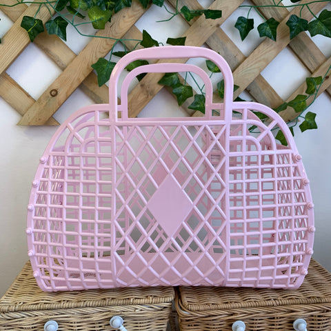 Jelly Retro Basket - Large Ballet Pink