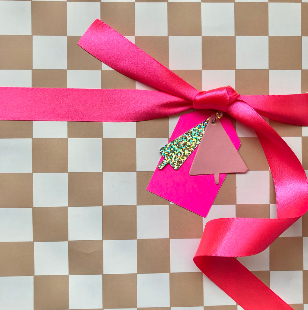 Caramel Checkerboard Gift Wrap - Holiday 2020