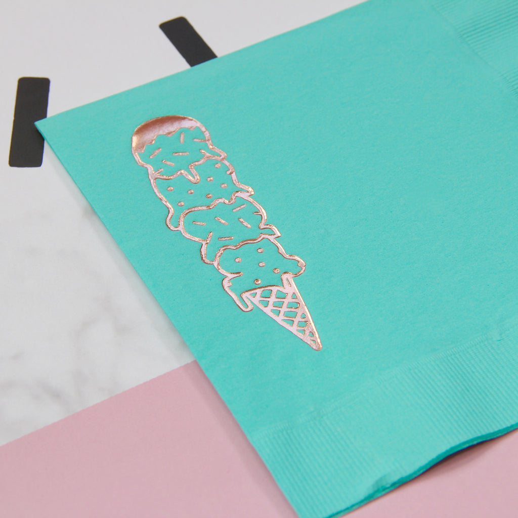 Scoops Foil Napkins -  Bright Aqua