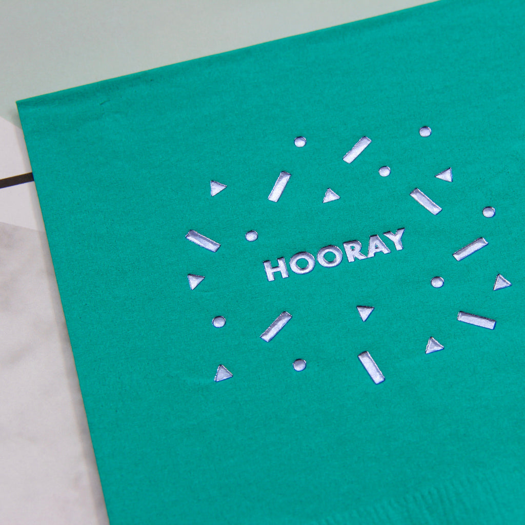 Hooray Foil Napkins - Teal
