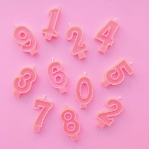 Bright Pink Number Candles