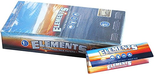 Elements Ultimate Thin Rice Rolling Papers, Pack of 50 papers