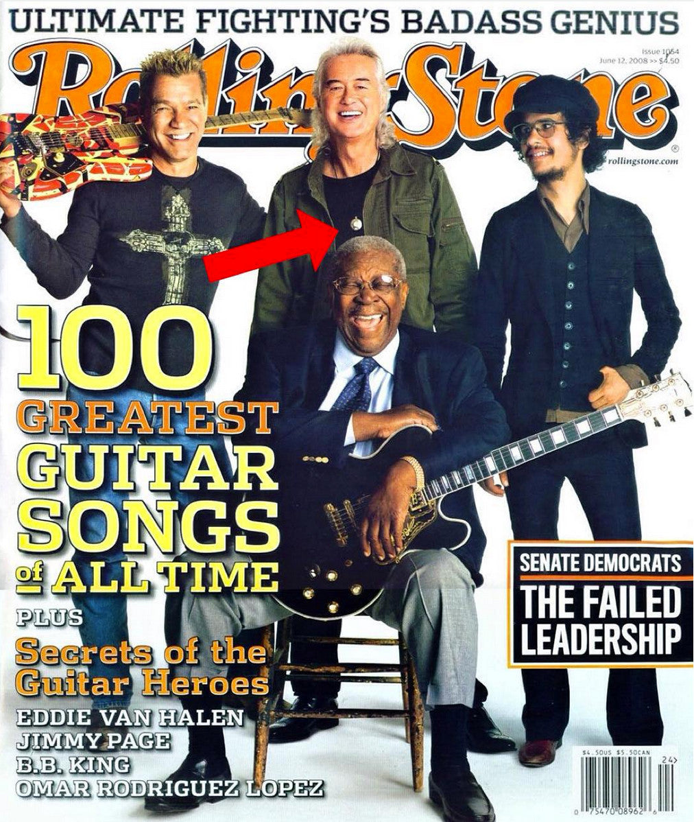 Spotted! Rolling Stone Magazine Cover - Jimmy Page wearing Q-Link