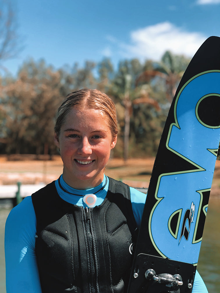 "Sade Ferguson, Pro Waterskier [""...I feel calm and focused, I feel fresh and energised while wearing it...""]"