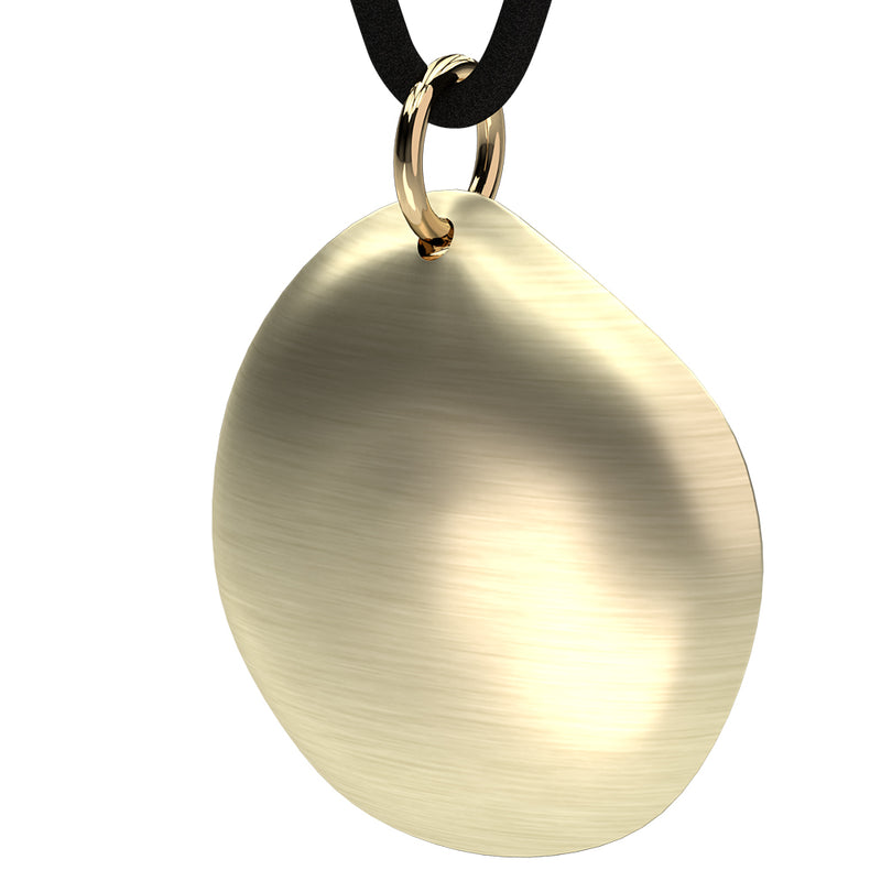 Q-Link Gold Pebble SRT-3 Pendant (Brushed Finish)