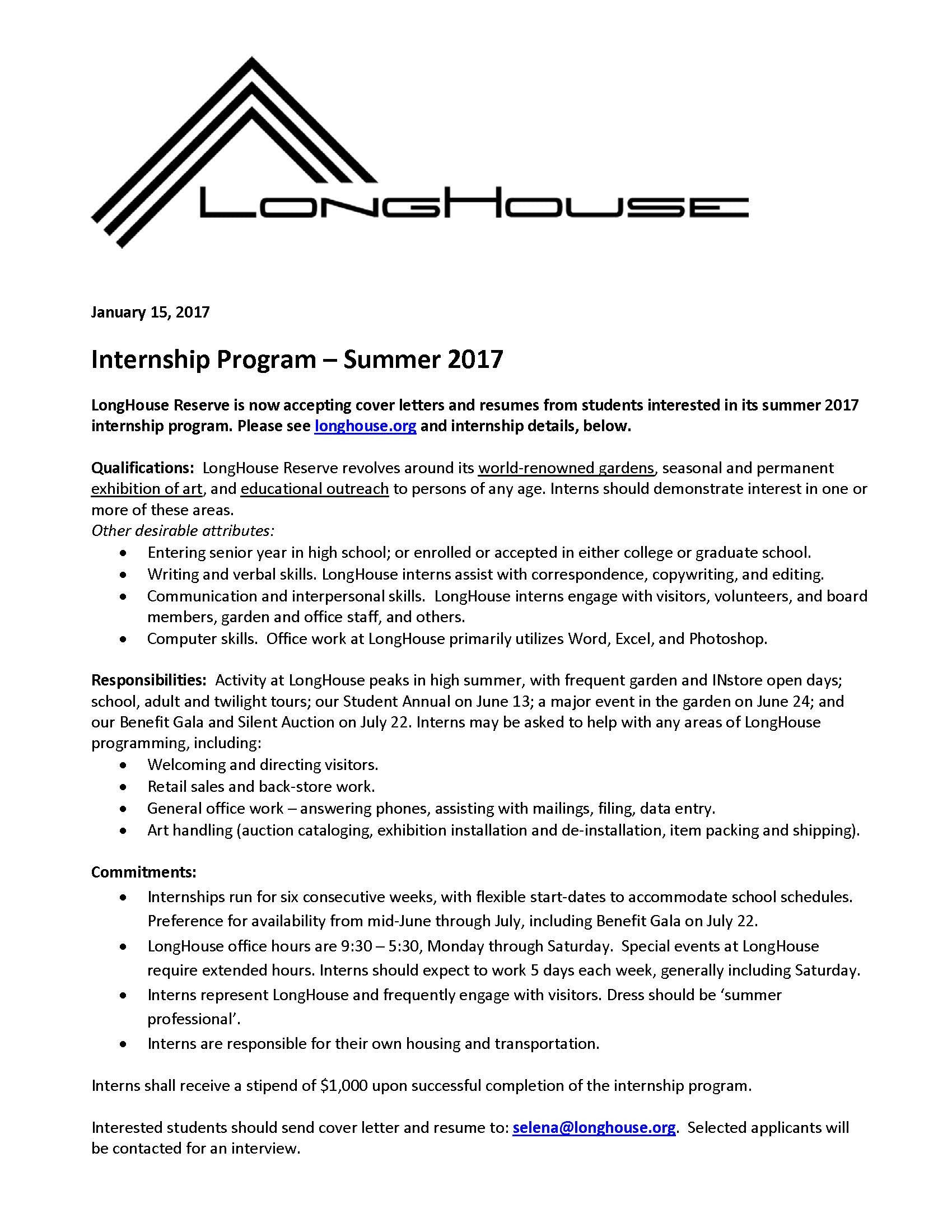 Summer internships longhouse reserve longhouse reserve is now accepting cover letters and resumes from students interested in its summer 2017 internship program madrichimfo Image collections