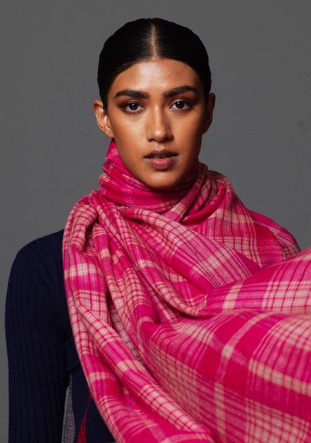 Pink Checked Cashmere Shawl