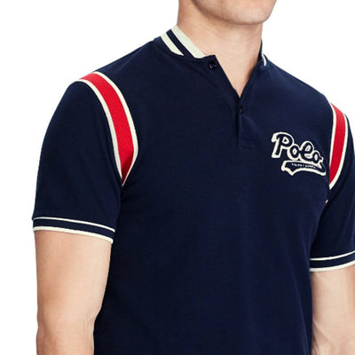 RALPH LAUREN-aviator navy 'slim fit' polo with baseball collar