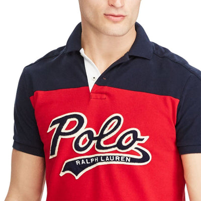 RALPH LAUREN-exclusive red multi 'slim fit' mesh polo