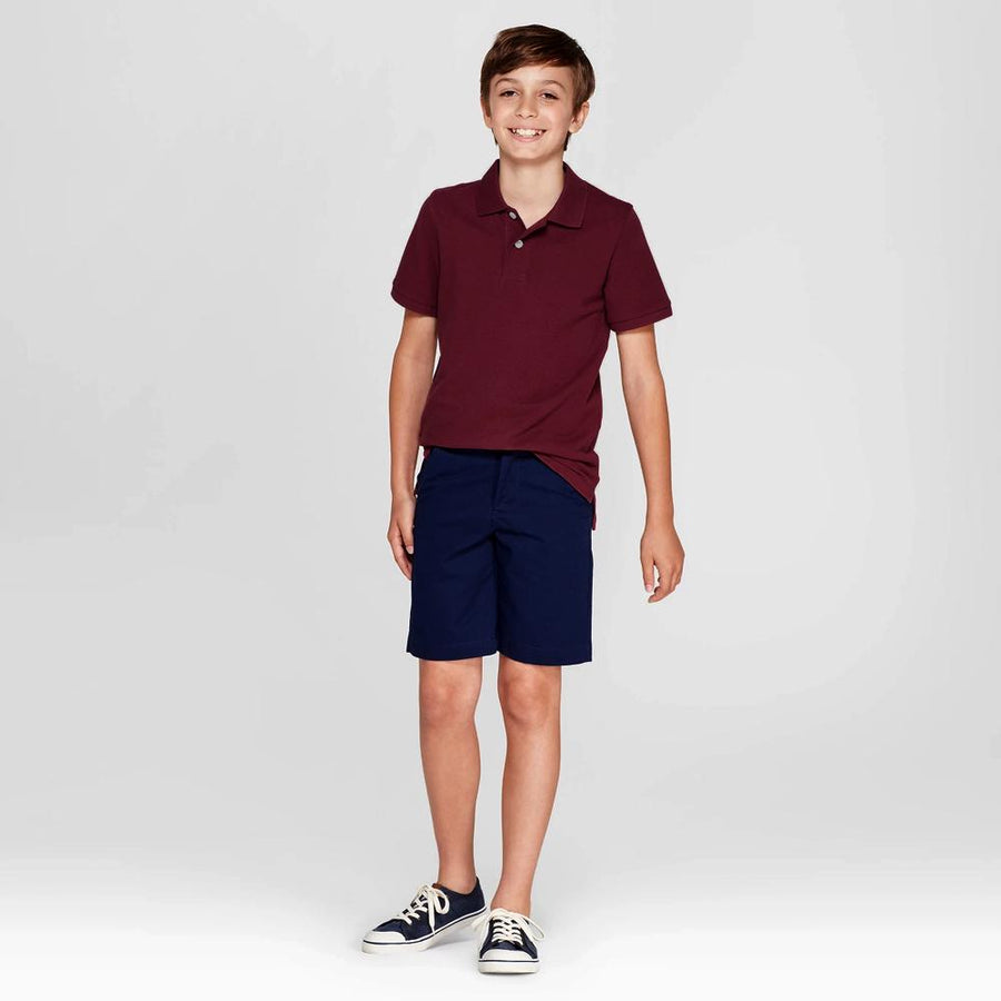 Boys burgundy short sleeve polo (797)