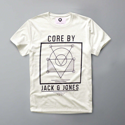 JACK & JONES-core white graphic t-shirt
