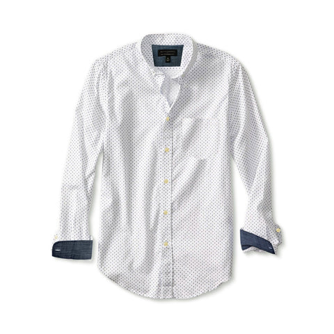 BANANA REPUBLIC-white 'slim fit' dot print shirt