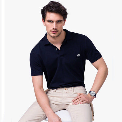 BANANA REPUBLIC-signature pique navy polo