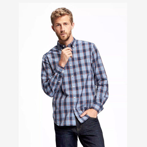 OLD NAVY-classic plaid ink blue 'regular fit' shirt