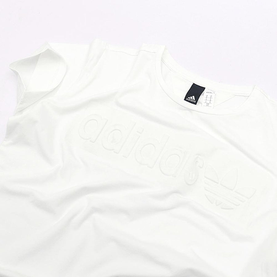 ADIDAS-white 'slim fit' logo embossed t-shirt