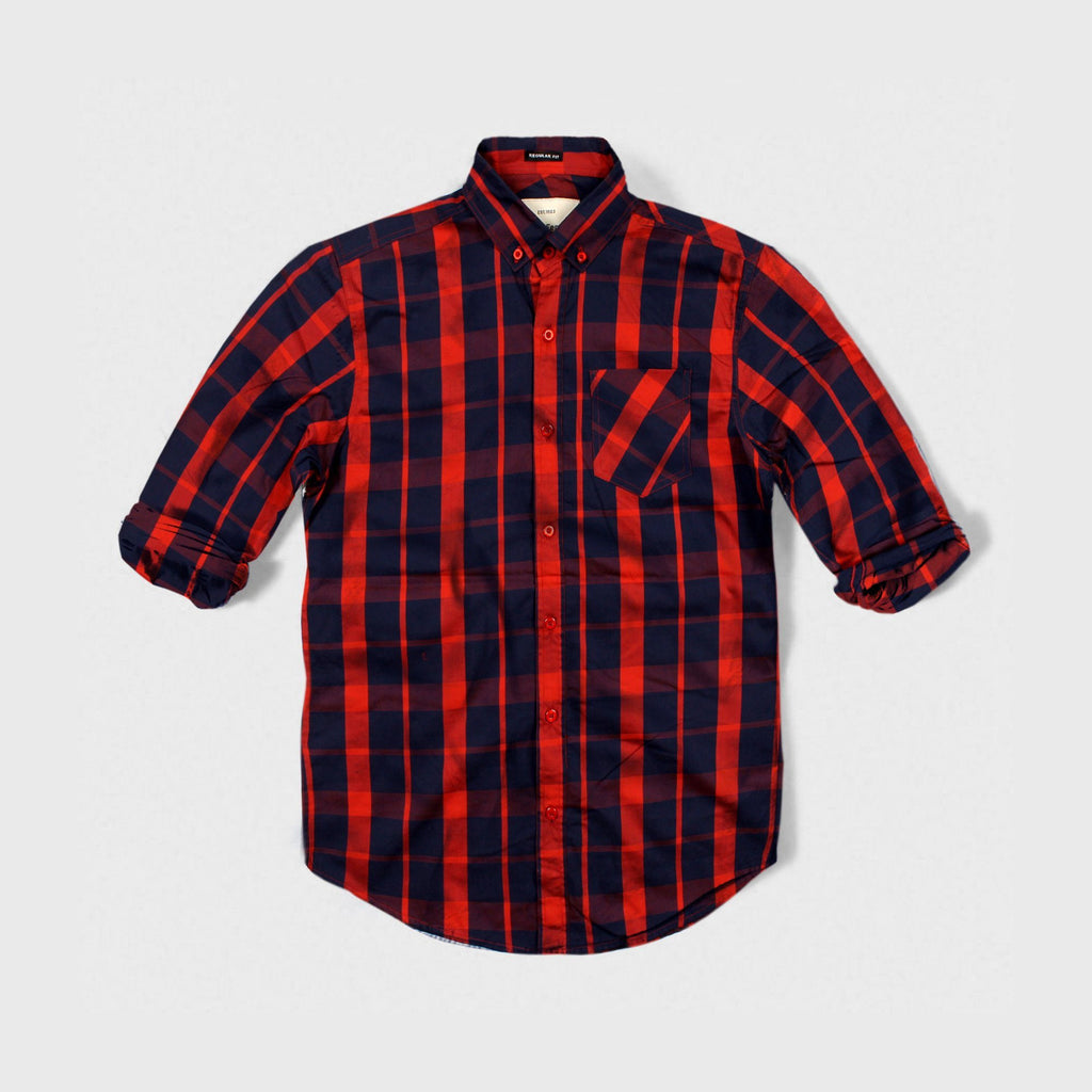 MARC FENDI-oxford red check button down shirt