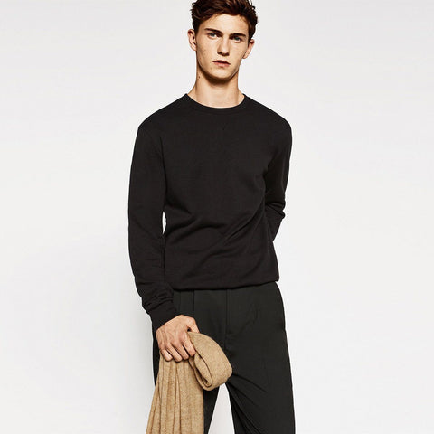 ZARA-'slim fit' black basic sweatshirt