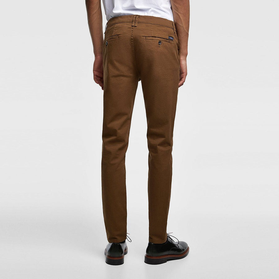ZARA-exclusive brown 'skinny fit' stretch cotton chino