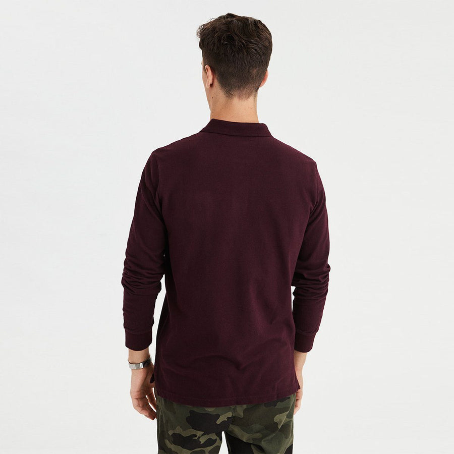 AMERICAN EAGLE-burgundy long sleeve pique polo