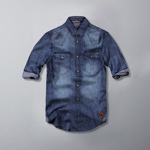 JACK & JONES-exclusive 'slim fit' self print denim shirt