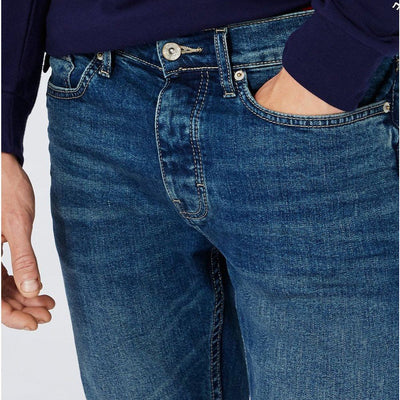 TM-mid blue vintage wash 'skinny fit' stretch jeans