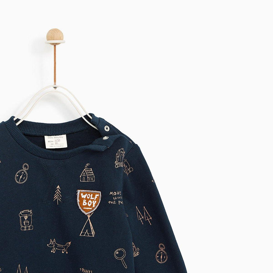 ZARA-boys navy positional animal sweatshirt