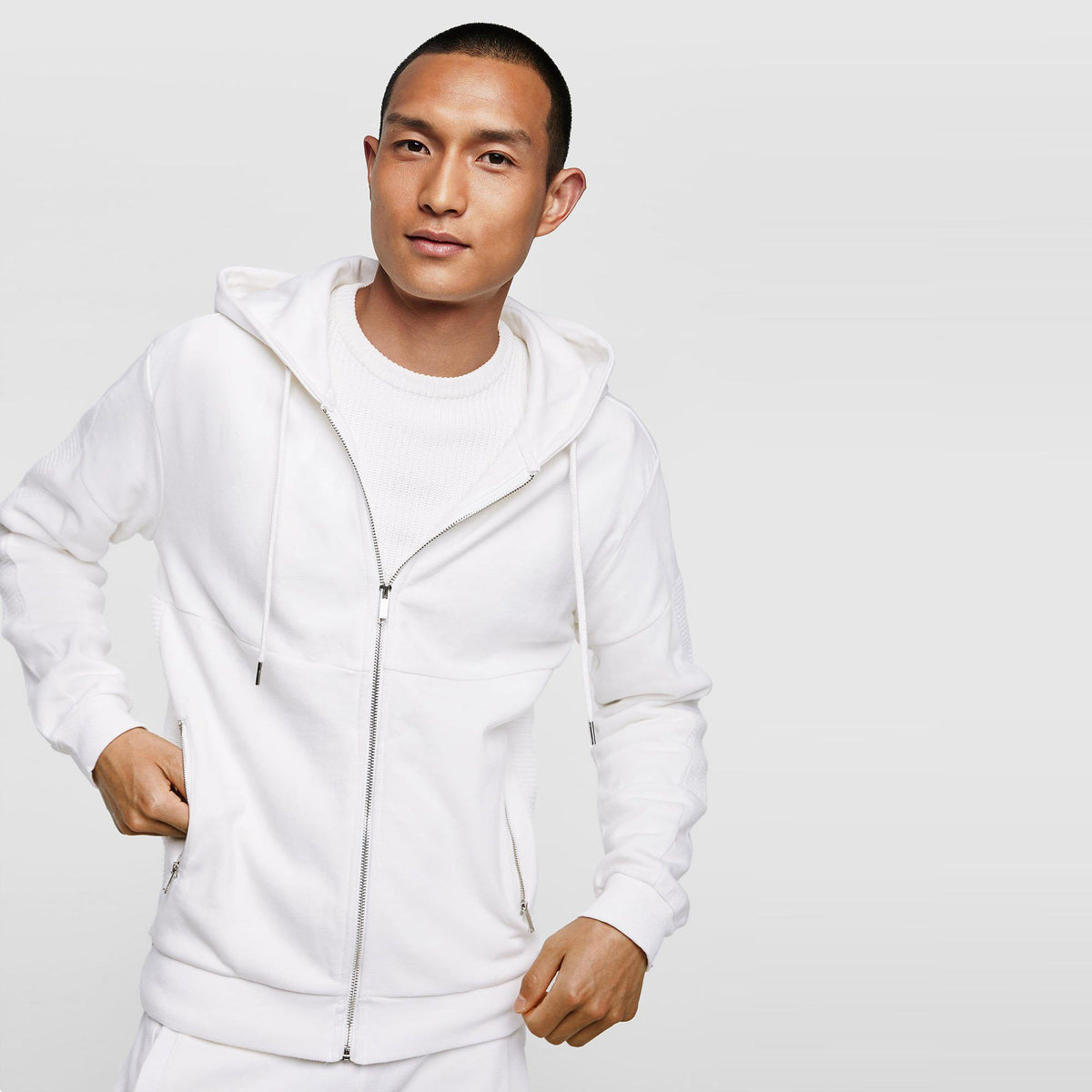 ZR-exclusive white biker zip up hoodie