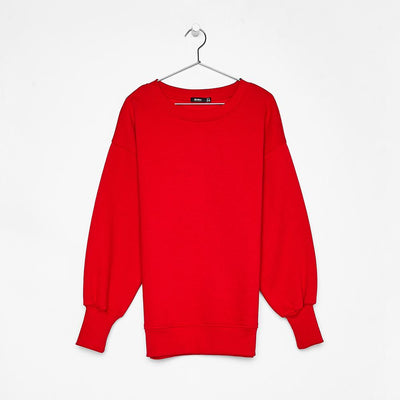 Women red oversized sweatshirt with side vents