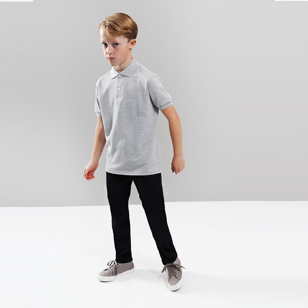 Boys grey short sleeve polo (805)