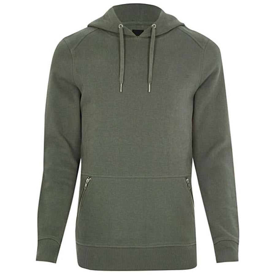 RIVER ISLAND-green muscle fit side zip pocket hoodie