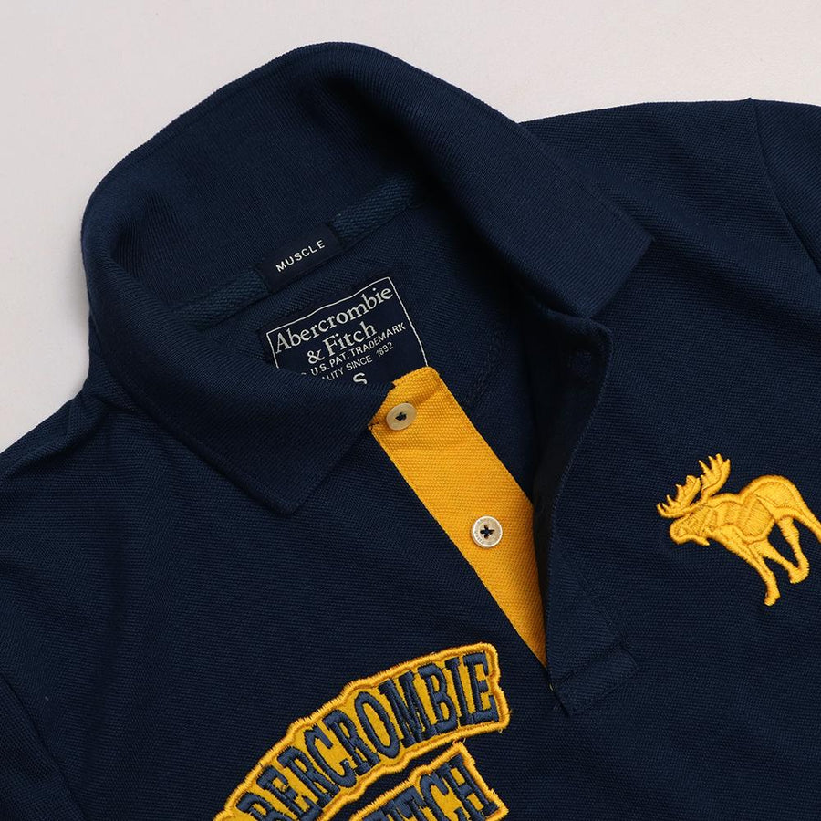 A&F double embroidered signature pique navy polo (1047)
