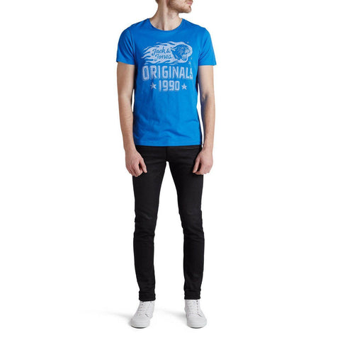JACK & JONES-slim fit imperial blue 1990 graphic t-shirt