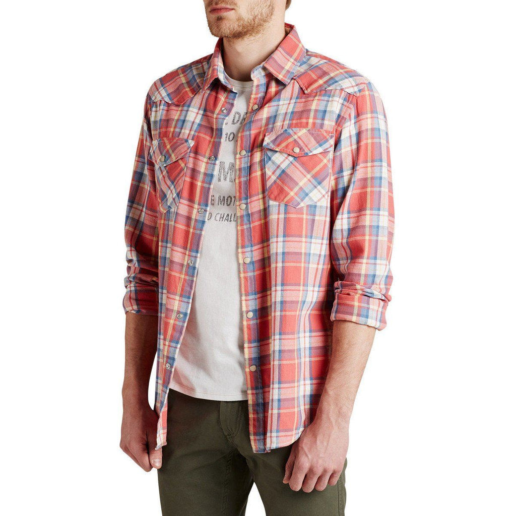 JACK & JONES-western check light weight flannel casual shirt