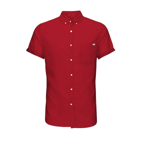 JACK & JONES-slim fit all-over print short-sleeved red shirt