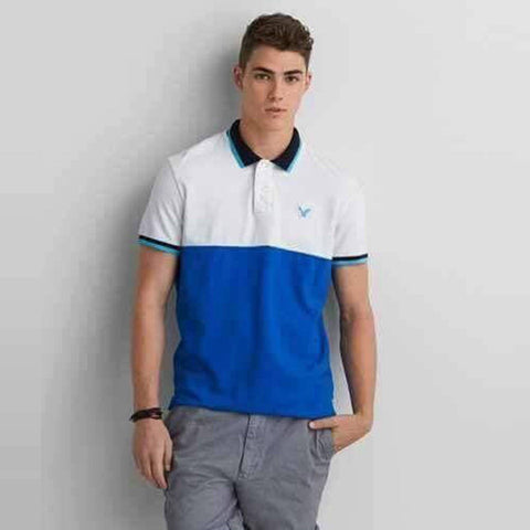 AMERICAN EAGLE-white and blue color block pique polo with chest aeo signature
