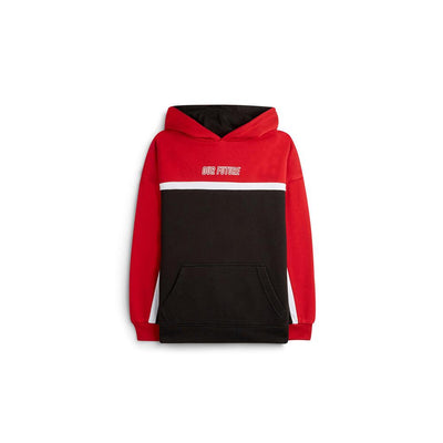 Exclusive older boys our future red color block hoodie (1444)