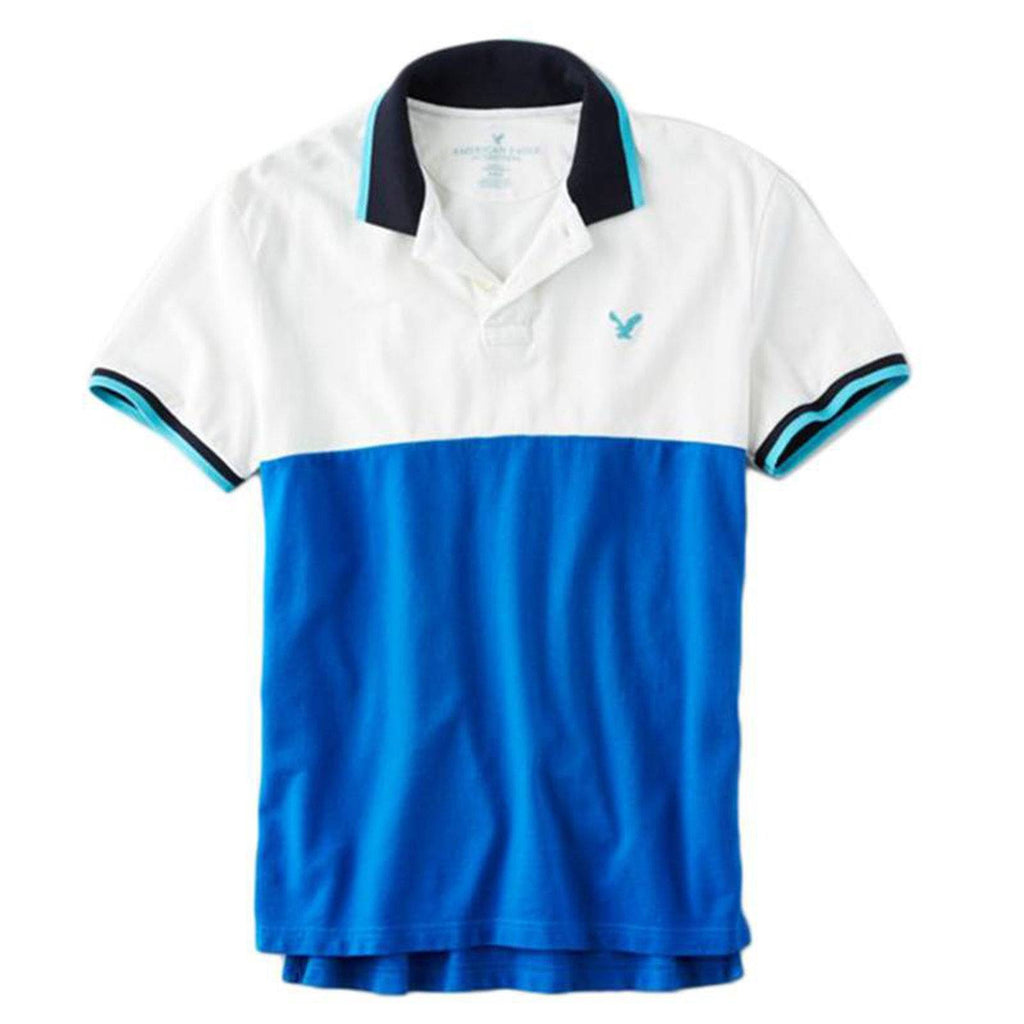 AMERICAN EAGLE-white and blue color block pique polo with chest aeo si