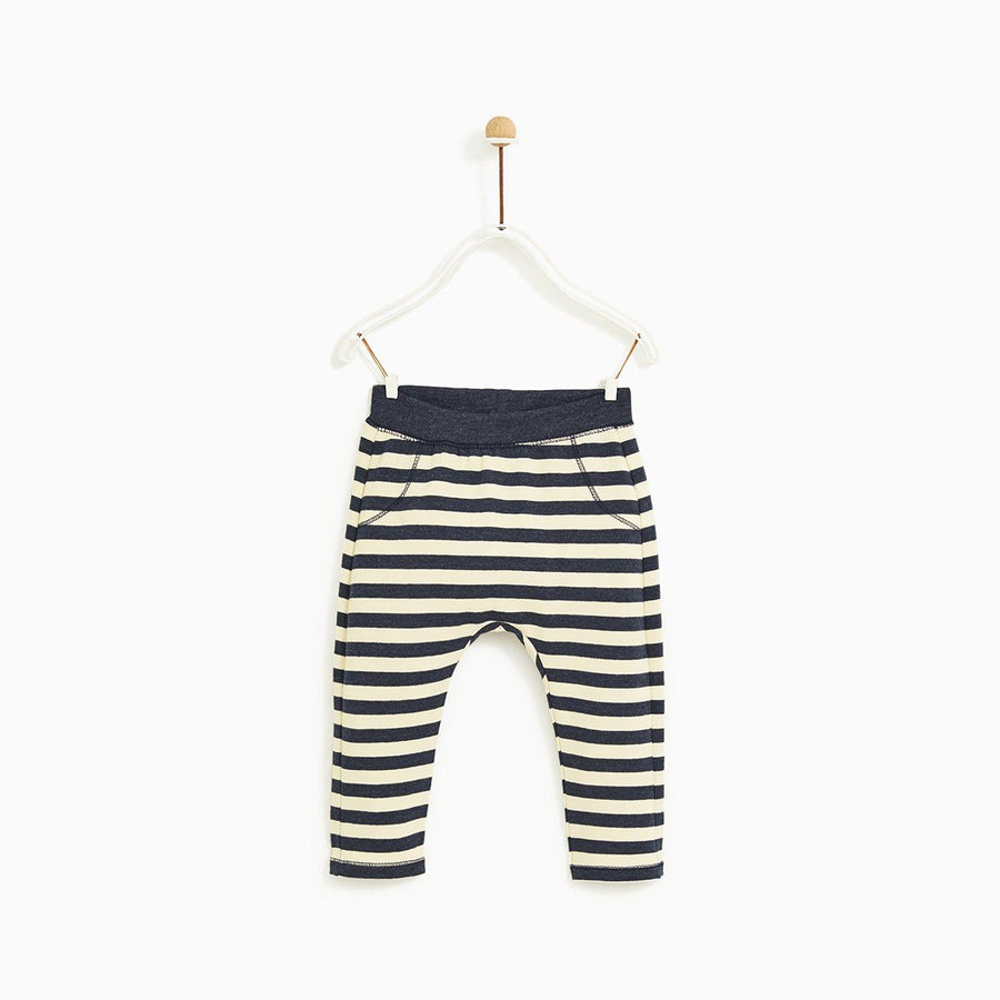 ZARA-kids ecru striped fleece leggings (445)