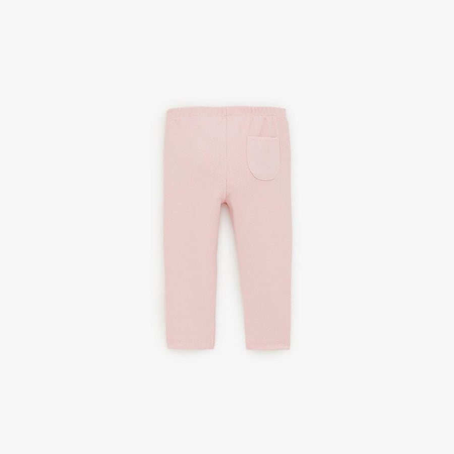 Zr kids pink basic ribbed leggings (1471)