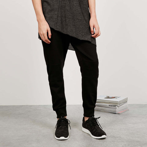 BERSHKA-black 'slim fit' plush trouser with side zip