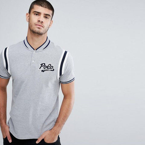 RALPH LAUREN-grey 'slim fit' polo with baseball collar
