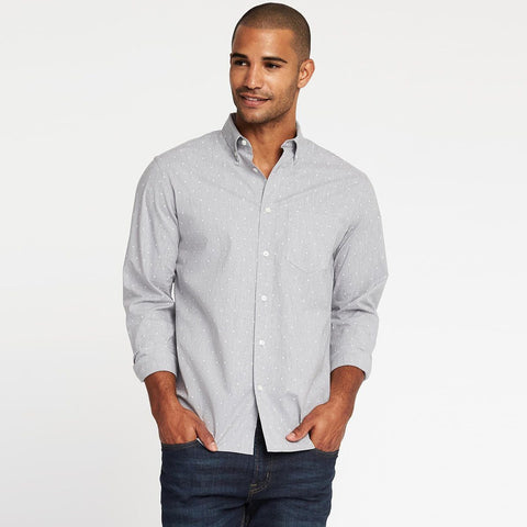 OLD NAVY-grey 'regular fit' built-in-flex classic shirt (Premium Fabric)