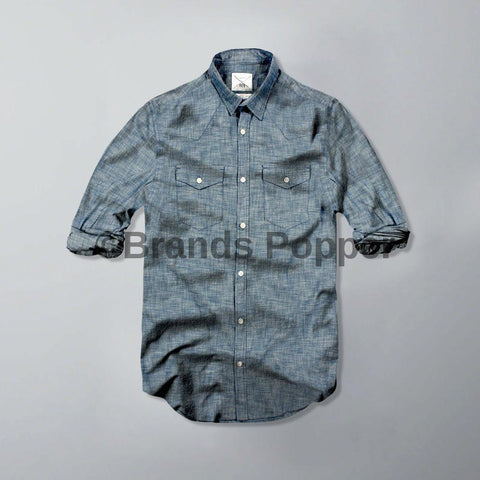 ZARA-original denim 'super slim fit' double pocket shirt