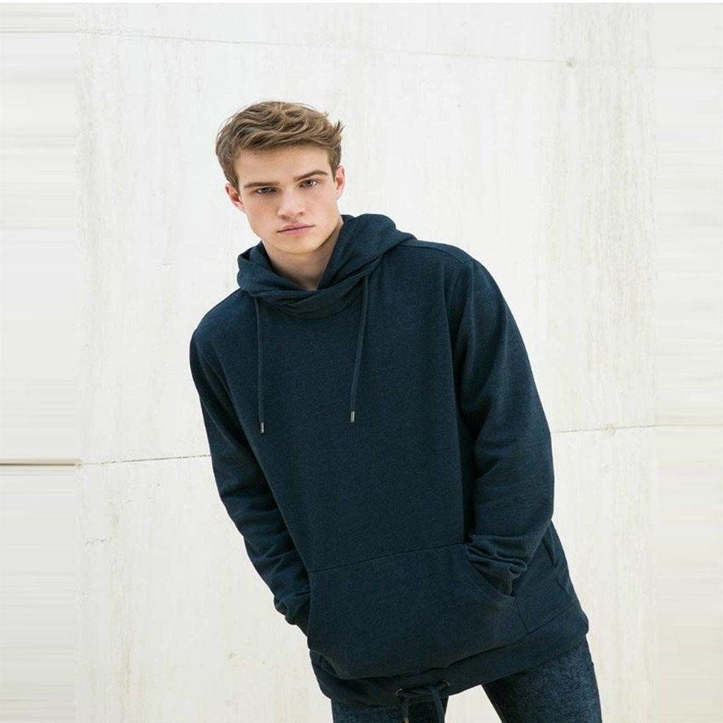 BERSHKA-blue hooded sweatshirt with kangaroo pocket
