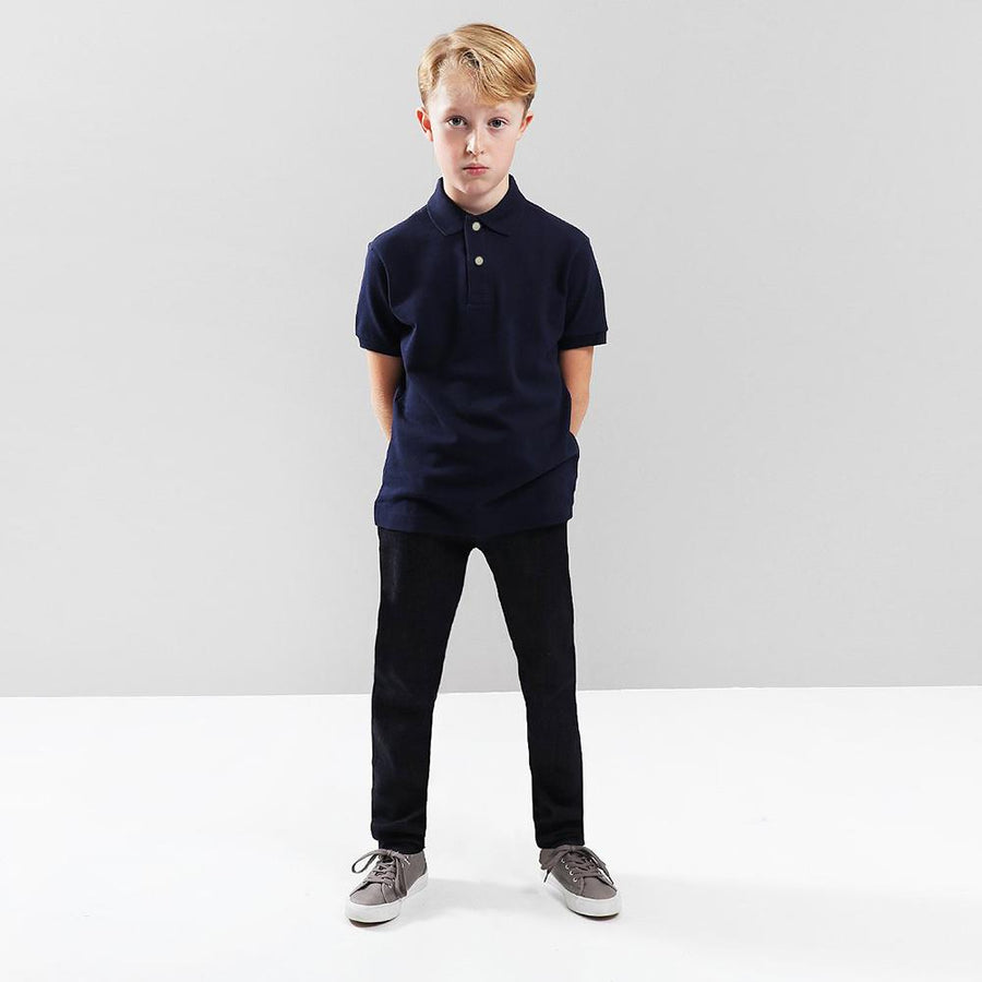Boys navy short sleeve polo (802)