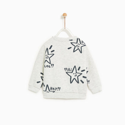ZR-kids grey marl stars printed sweatshirt (560)