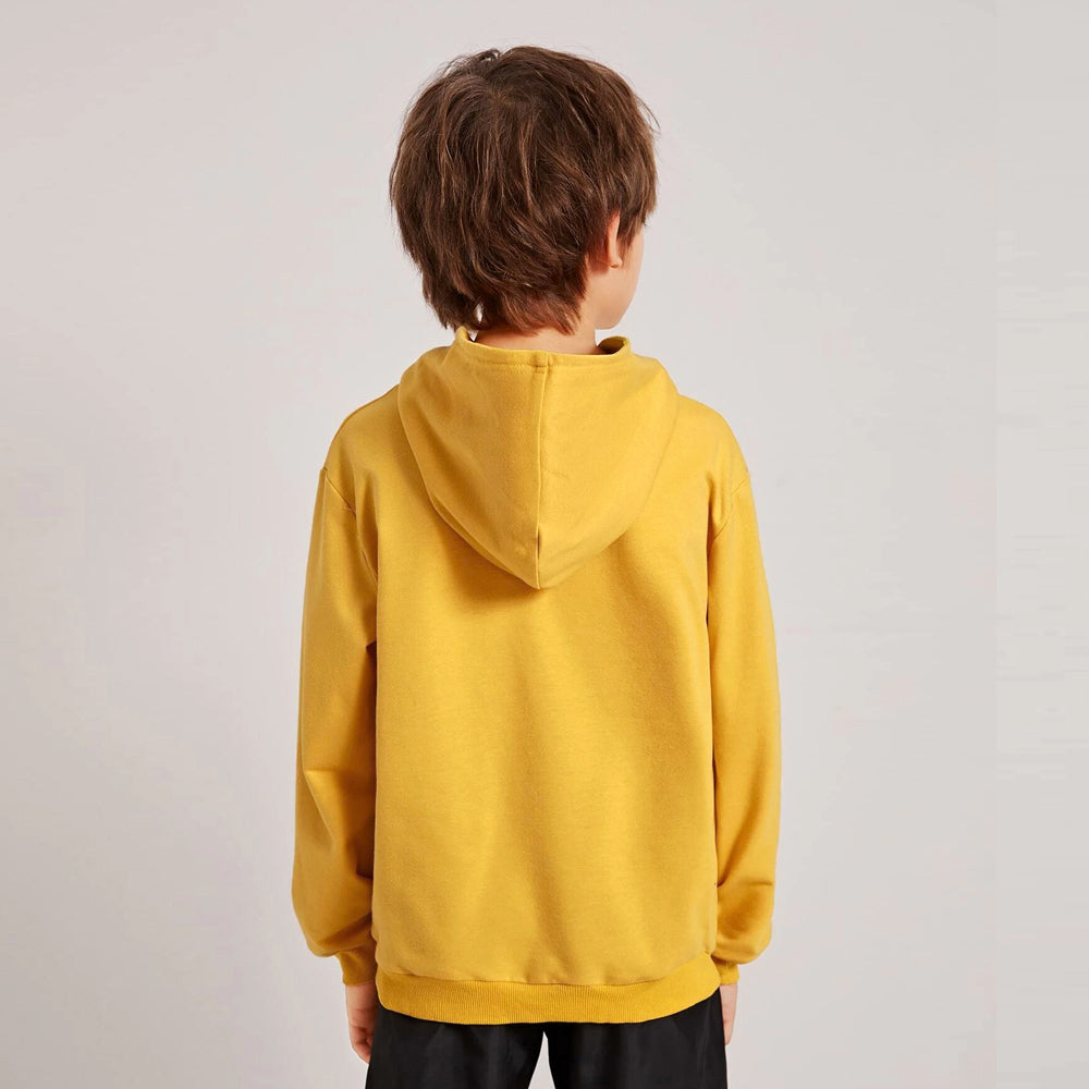 Boys Soft Brushed Fleece Yellow Casual Basic Pullover Hoodie (30125)