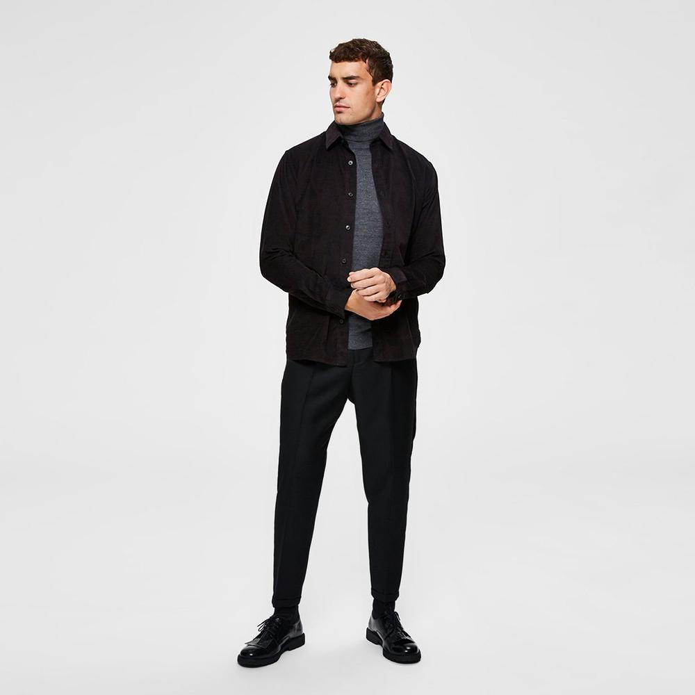 Premium Quality Black 'Slim Tapered' Cropped Suit Trouser (2575)